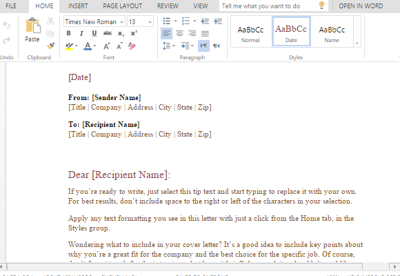 Formal Business Letter Template For Word | PowerPoint Presentation