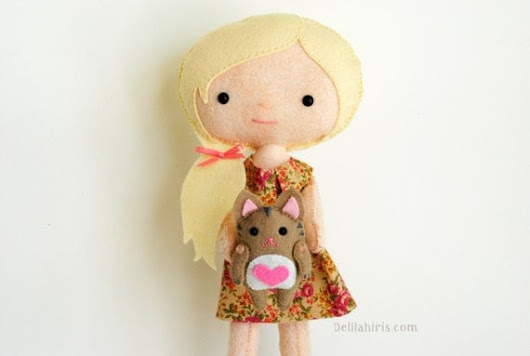 Felt Doll Sewing Pattern  Kady & Kitty  Printable by DelilahIris