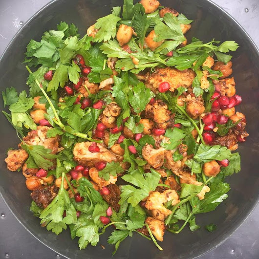 "Nigella Lawson on Twitter: ""Roast spiced cauliflower and chick pea salad with parsley and pomegranate seeds from #SimplyNigella for lunch: joy! """