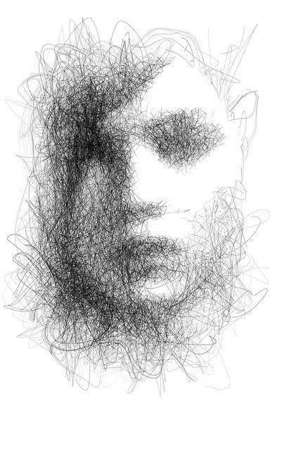 scribble hair face illustration scribble art art