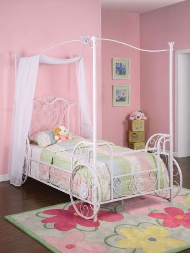 Girls Four Poster Bed: Cinderella Twin Carriage Canopy Bed ...