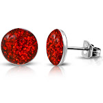My Daily Styles Stainless Steel Red Glitter Round Stud Earrings, 0.25""