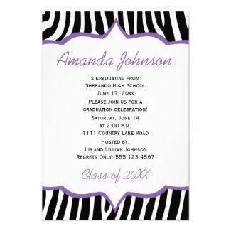 Girly Purple and Zebra Print Graduation Party
