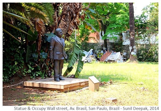 Statue & occupy wall street, San Paulo, Brazil - Images by Sunil Deepak, 2014