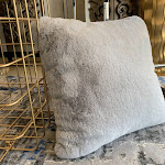 "Modern Soft Luxury Chinchilla Feel Faux Fur Pillow 20"" x 20"" / Silver"