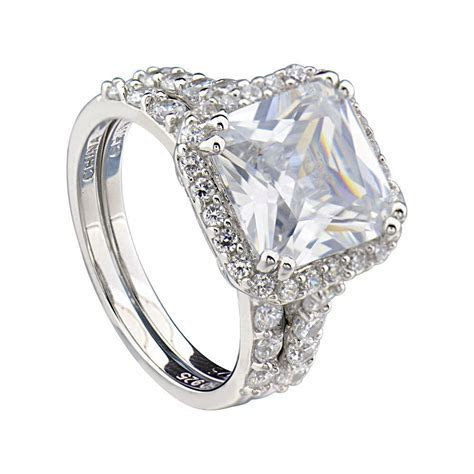 Sterling Silver Cushion Cut Cubic Zirconia Engagement
