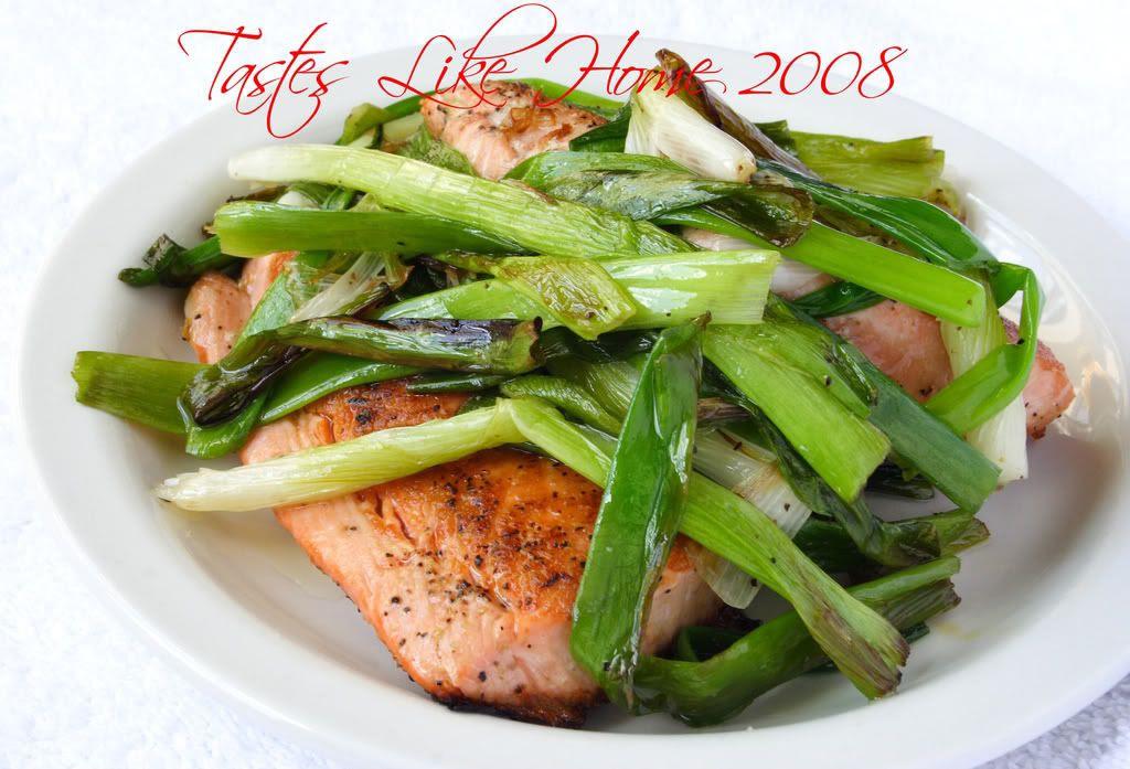 Pan fried salmon & Green Onions