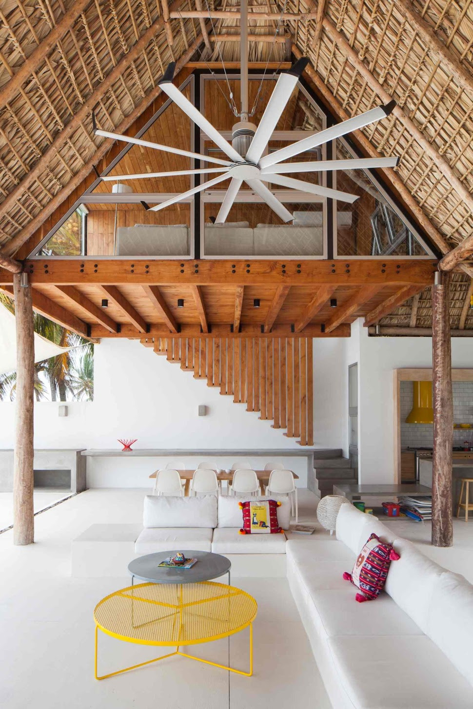 Colorful Tropical Open Home With RoughCut Thatched Roof  Modern House Designs