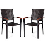 Gymax 2PCS Patio Dining Chairs Armchair Stackable Rattan Wicker Outdoor Aluminum Frame