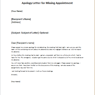 52 INFO APOLOGY LETTER MISSING APPOINTMENT WITH VIDEO TUTORIAL