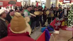 A large group performed a Round Dance at the Cornwall Centre in Regina to raise awareness of their Idle No More campaign on Dec. 17, 2012.