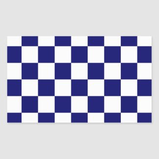 Checkered Navy and White Rectangle Sticker