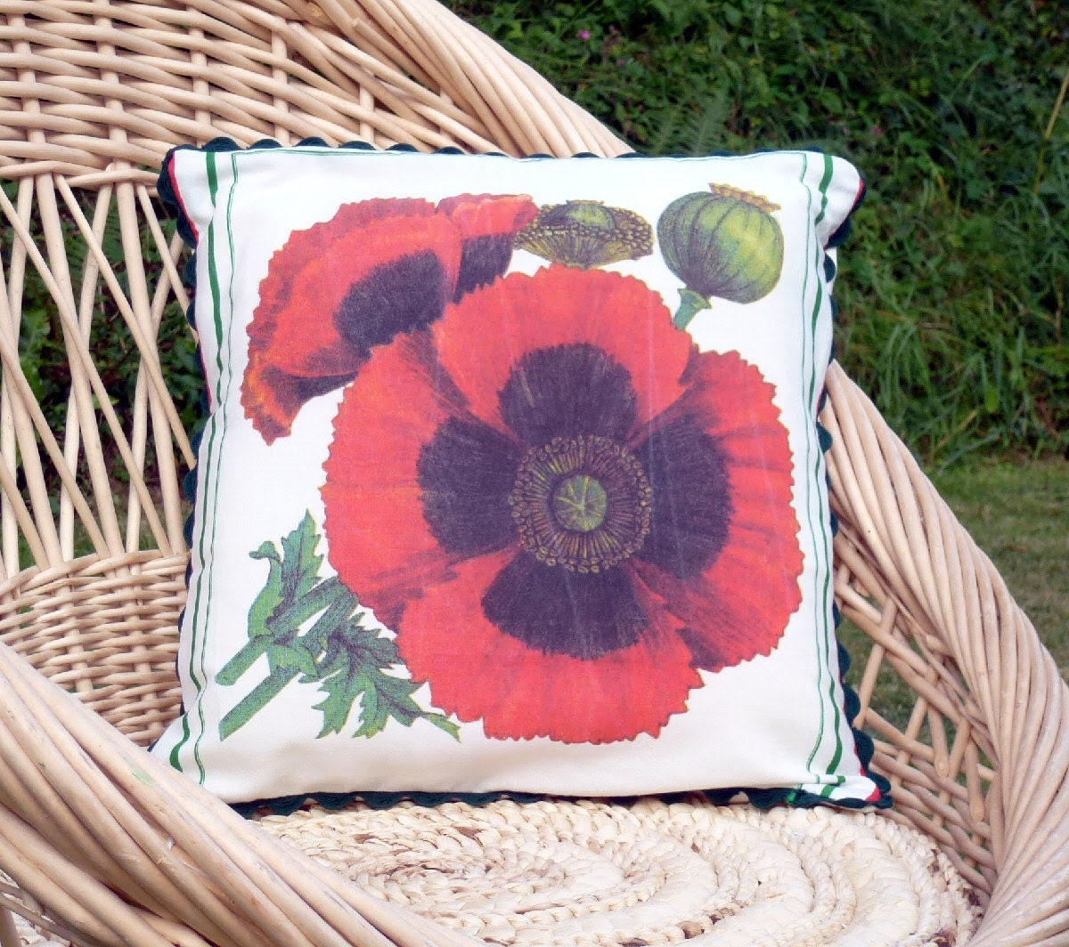 Poppies Cushion Cover, Upcycled Tea Towel - 20ethCenturyGirl