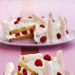 Raspberry Cake with Whipped Cream and Pink Meringues