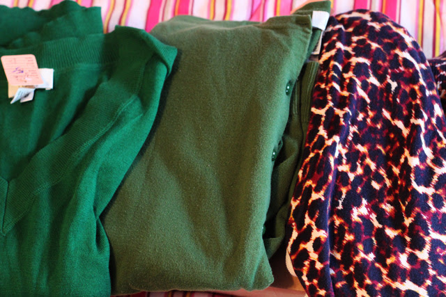 Green Sweaters and Leopard Cardigan