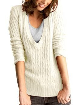 Gap Deep v-neck cable sweater
