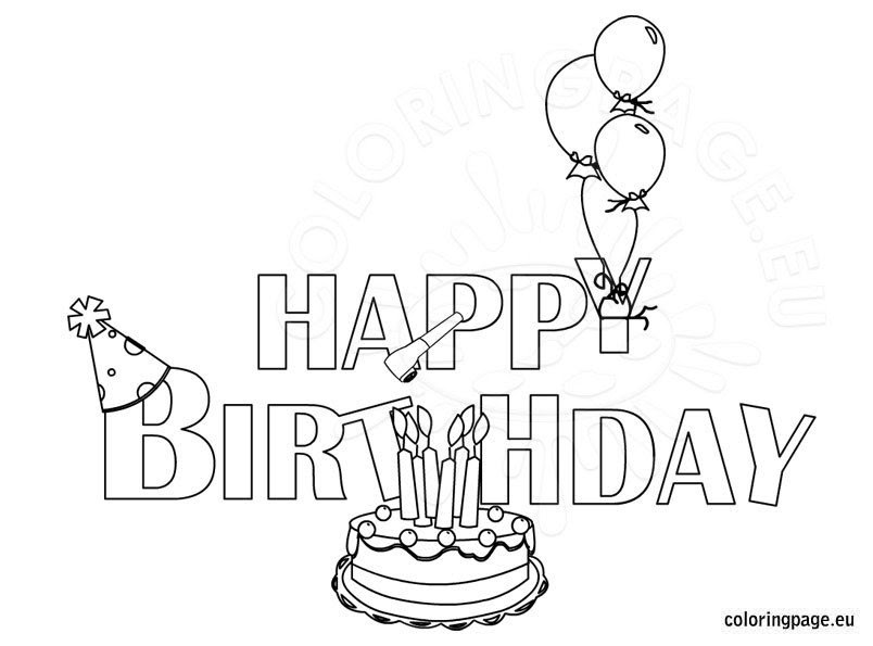 Happy Birthday coloring page - Coloring Page