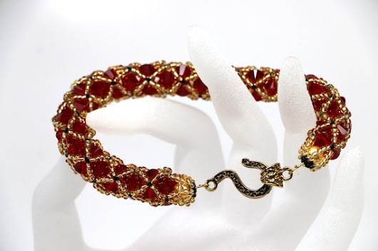 Gold and Red Netted Swarovski bicone crystals by BijouxCeleste