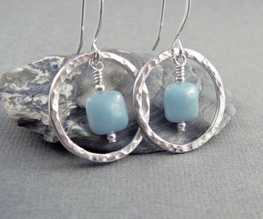 Blue Stone Earrings Silver Hoop Earrings for Women Nickel