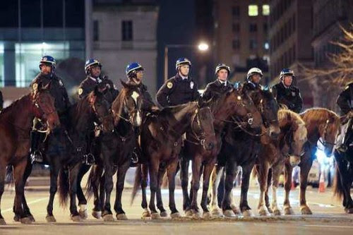 Mounted cops in Philadelphia as part of over 200 officers that smashed up the Occupy encampment. A coordinated effort nationally has broken up dozens of anti-capitalist protests, arresting several hundred people nationwide. by Pan-African News Wire File Photos