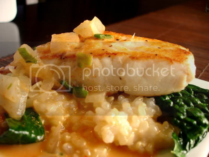 Curry Halibut with Kale