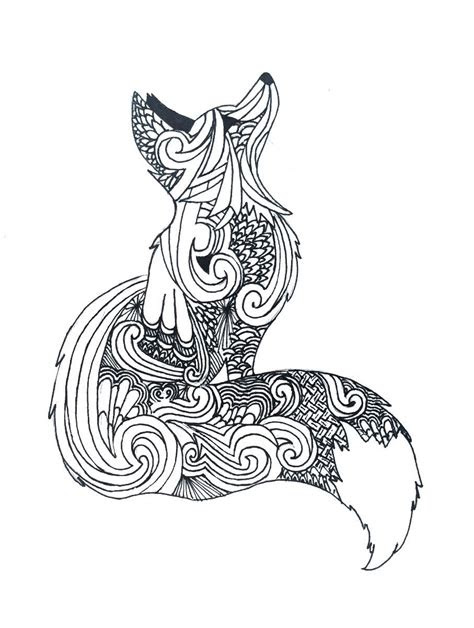 zentangle fox  art art fox art fox coloring page