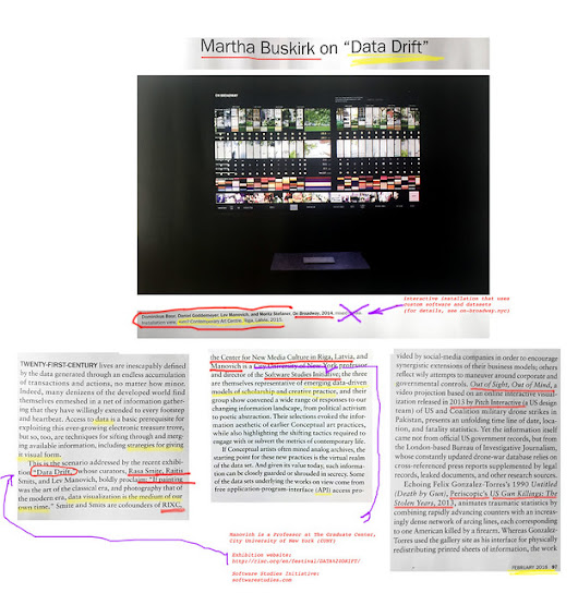 "Software Studies Initiative: Article in Artforum by Martha Buskirk on ""Data Drift"" exhibition (co-curated by Lev Manovich)"