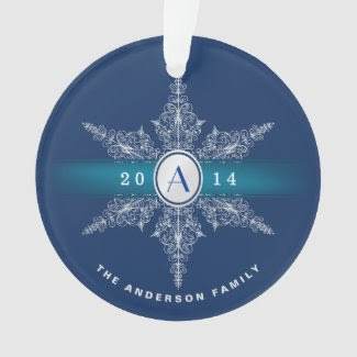 Navy Blue Monogram Snowflake Christmas Ornament