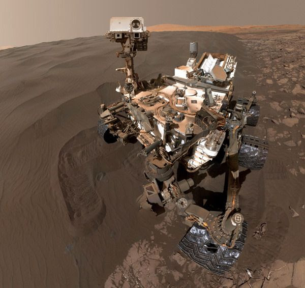 A cropped version of the Curiosity Mars rover's self-portrait, taken with a camera on her robotic arm on January 19, 2016.