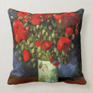 Vase with Red Poppies by Vincent van Gogh. throwpillow