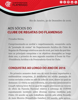Confira um trecho do comunicado do departamento jurídico do Flamengo (Foto: Divulgação)