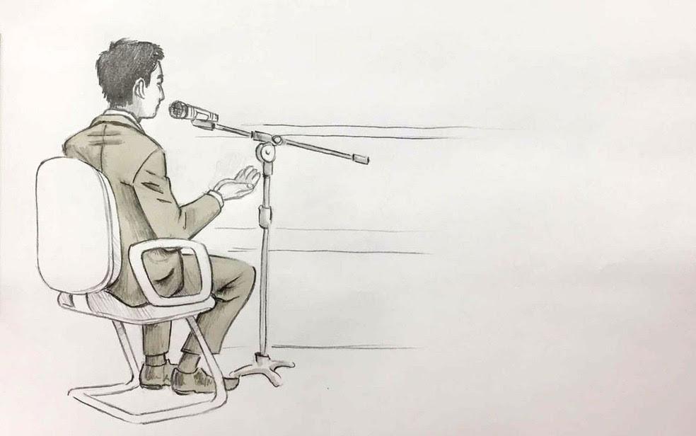 Ilustração mostra Mauro Matsunaga, irmão de Marcos Matsunaga, durante julgamento em São Paulo (Foto: elize matsunaga)