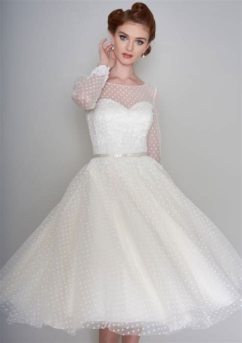 Fifties style tea length wedding dress in dotty tulle and