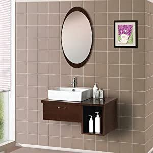 Amazon.com - Dreamline Bathroom Vanity, Wall Mounted Modern Wood ...