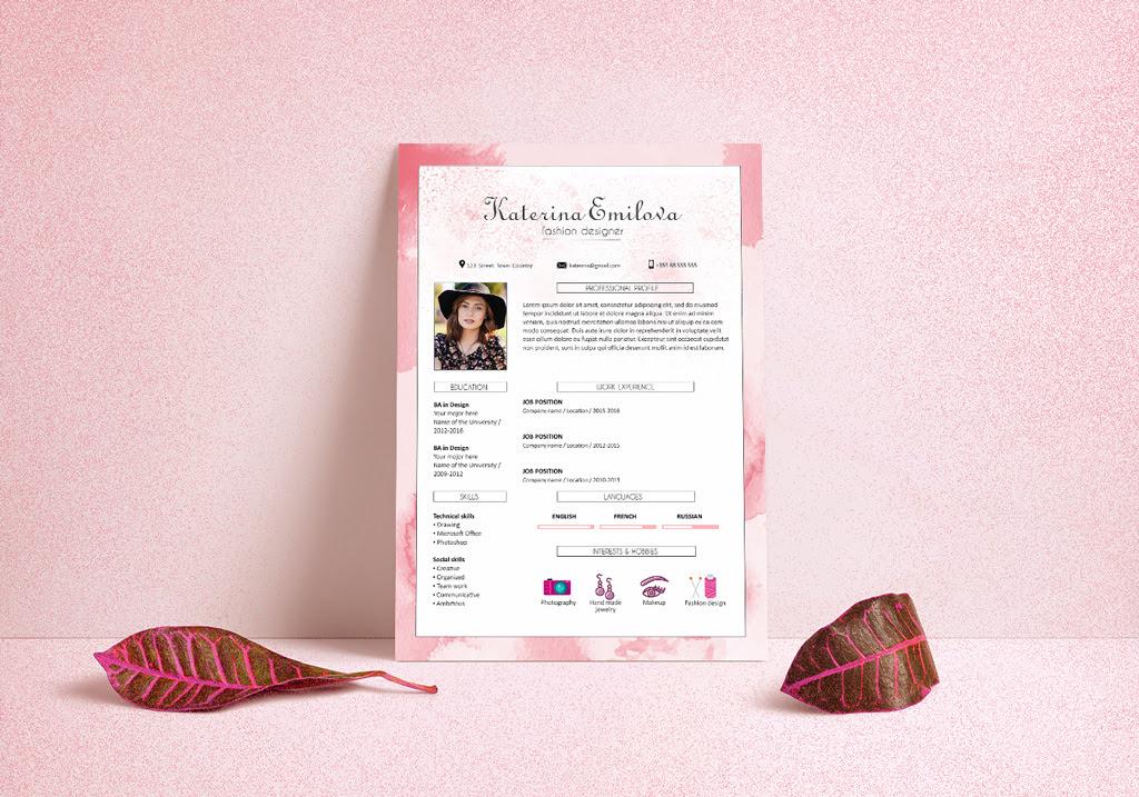 Free Resume CV Design Template For Fashion Designer PSD File 2