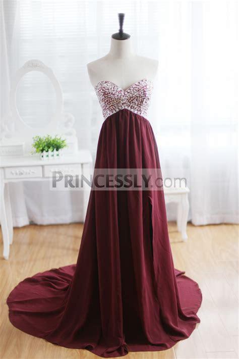 Wine Red Burgundy Chiffon Bridesmaid Dress Prom Dress