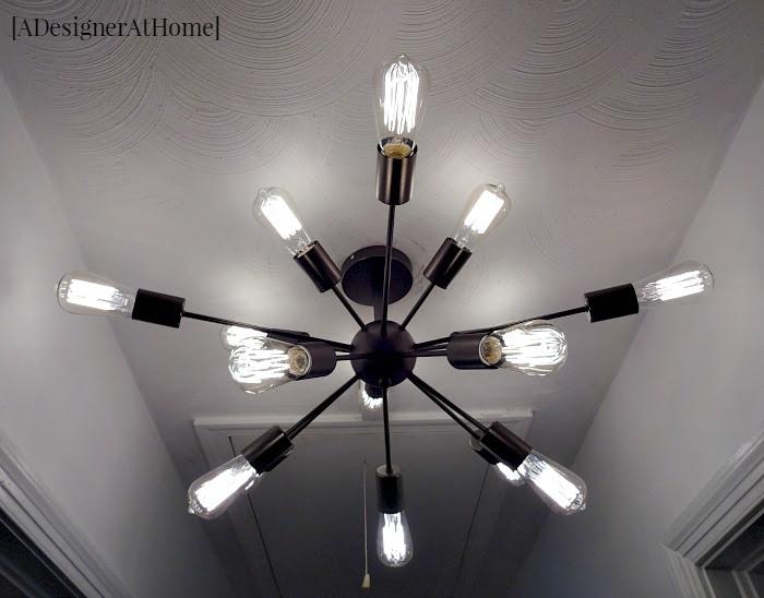 edison bulb sputnik style chandelier to brighten a dark hallway