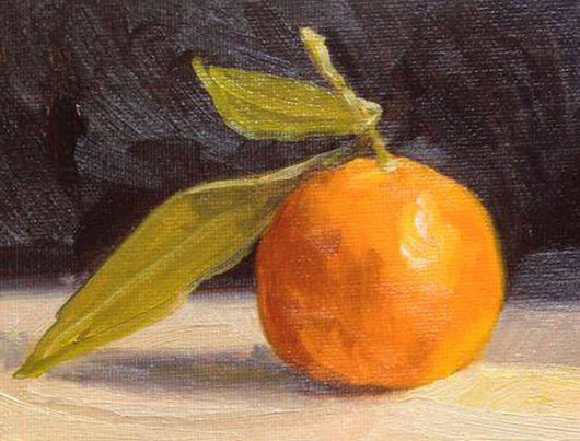 My Little Mandarine Still Life Fruit Oil Painting (2015) Oil painting by Caridad I. Barragan