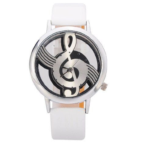 Novelty Musical Note Dial Quartz Movement Watch with PU Leather, White and Silvery: Watches: Amazon.com
