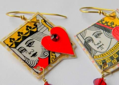 King and Queen of Hearts earrings with Swarovski flat backs and 6mm Crystals