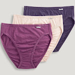 Jockey Plus Size Elance French Cut Underwear - 3 Pack in Oatmeal/Boysenberry/Perfect Purple, Size 10, Cotton