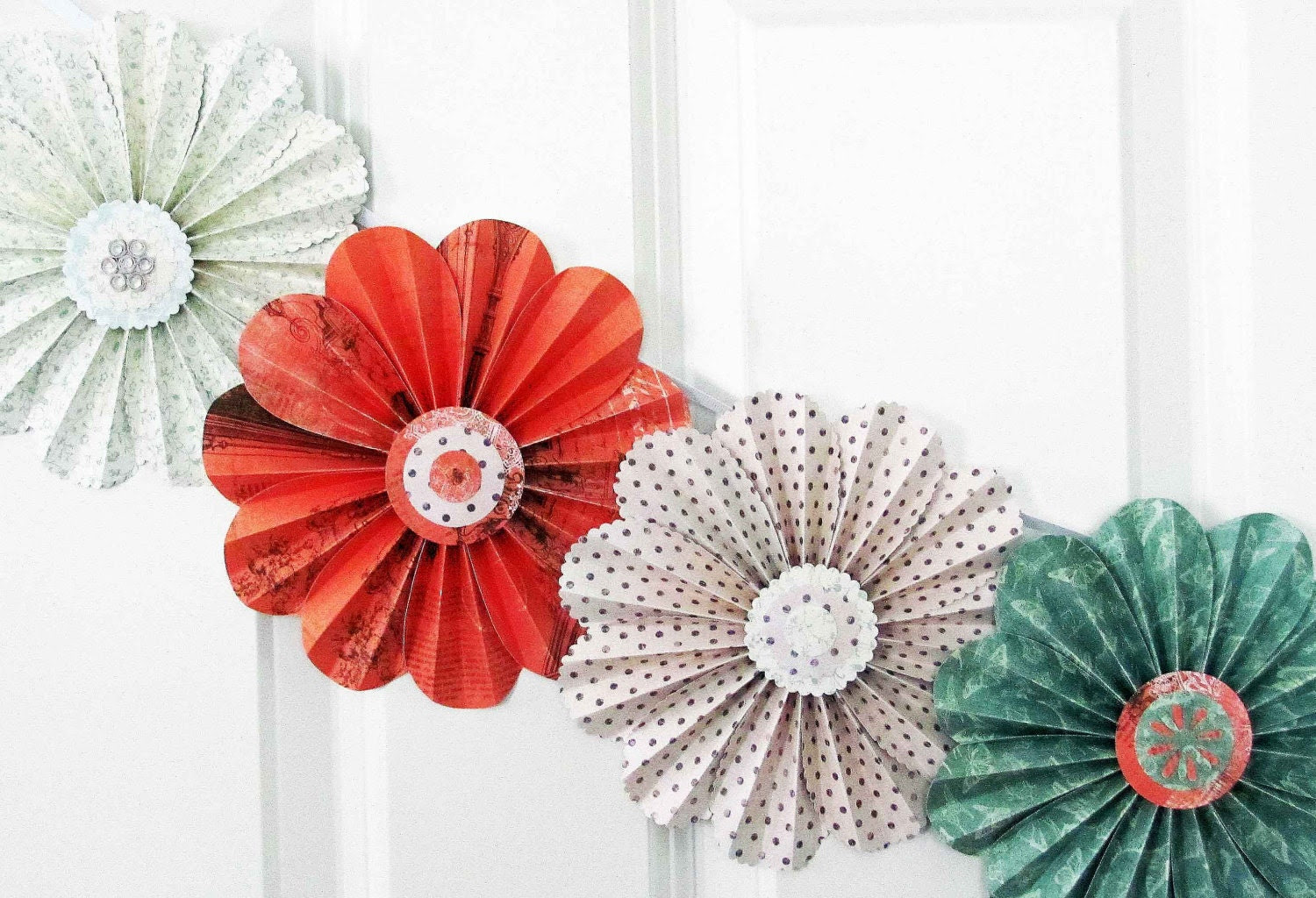 paper flowers floral garland party decor home wall by SheShell