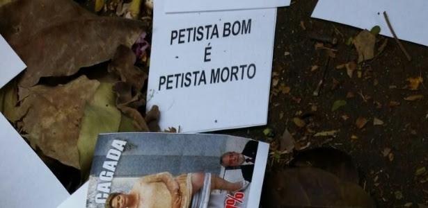 """""""Petista bom é petista morto"""" é o texto de panfletos jogados durante o velório do ex- presidente do PT José Eduardo Dutra"""