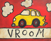 FUN CAR PRINT, Children, Art, Children Decor,  nursery decor, playroom, kids, wall art, vehicle, red, yellow
