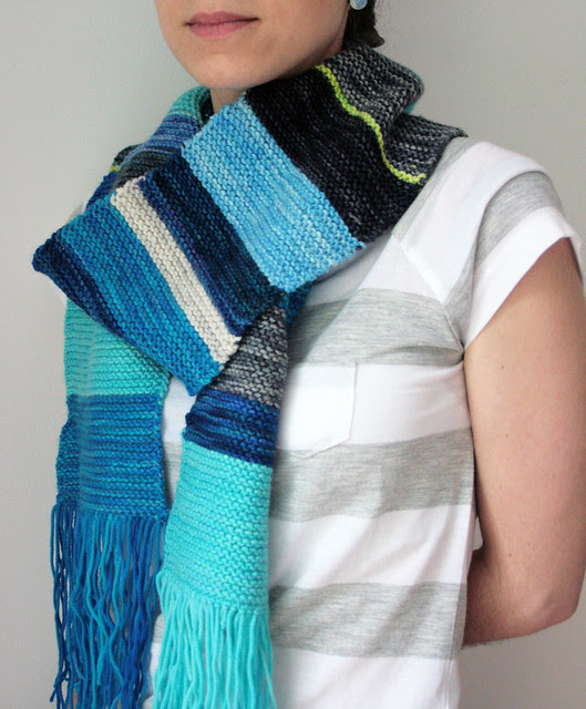 Garter Stitch scarf - Knit with TFA Yellow Label scraps