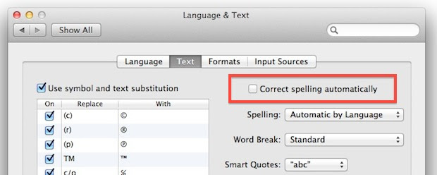 Turn off Auto Correct in Mac OS X Lion