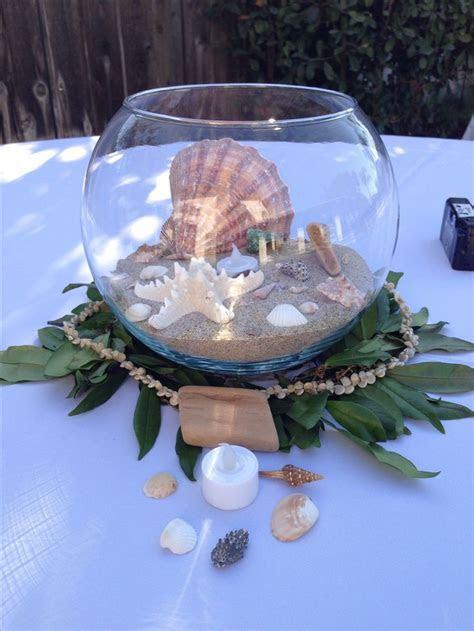 Beach wedding, Hawaiian theme centerpieces, seashells