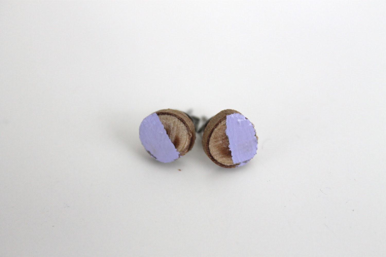 Lavender Painted Natural Wood Earrings