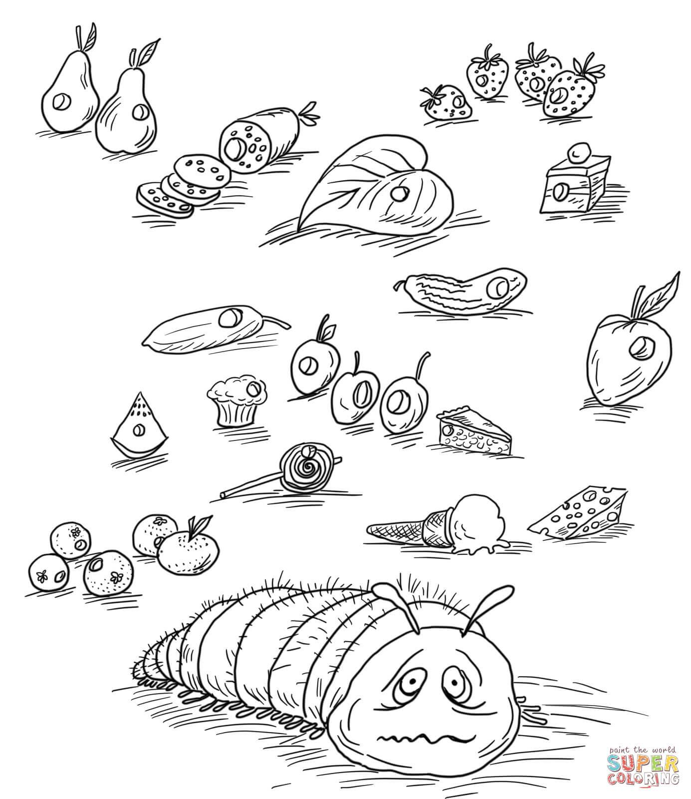 Die kleine Raupe Nimmersatt mit Früchten und anderem Essen from Die kleine Raupe Nimmersatt