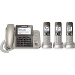 Panasonic - KX-TGF353N DECT 6.0 Expandable Cordless Phone System with Digital Answering System - Champagne gold